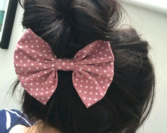 Hair Bow, Pink Hair Bow, Polka Dot Hair Bow, Retro Hair Bow, Women's Hair Accessory, Fabric Hair Bow, Hair Clip, Pink Hair Clip, Hand Made
