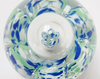"Vintage art glass paperweight blue ""waves"" swirls swirly speckled flecks unique"