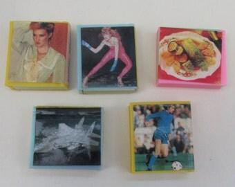 Five 1980s Vintage Novelty Book Erasers