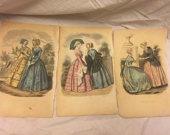 Lot of 3 Color plates/prints from old book fashsion dresses 1870s