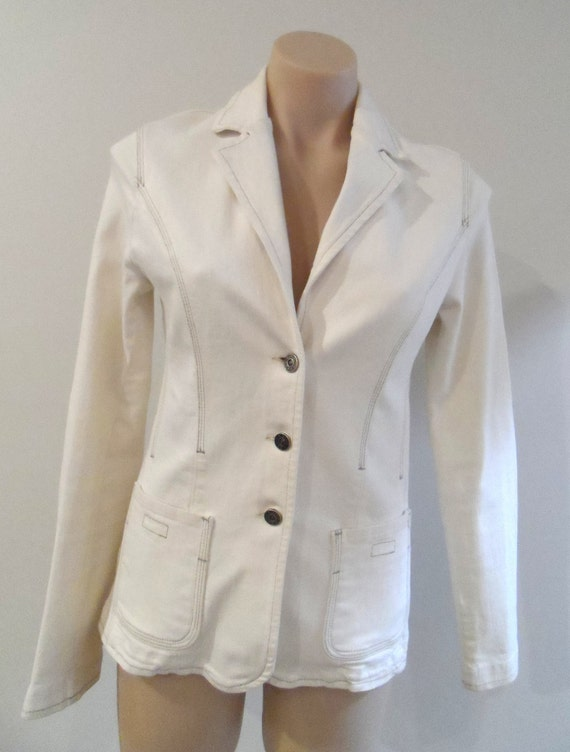 BEBE Jacket cream stretch denim with free matching pants - Size M - Vintage