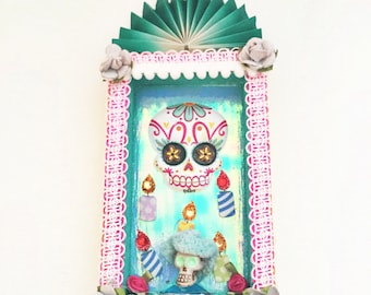 day of the dead decoration, dia de los muertos shrine, day of the dead niche decoration, dia de los muertos decoration, day of the dead