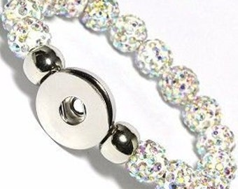 Snow White AB Swarovski Crystal Beaded 1 Button Noosa Charm Chunk Stretch Bracelet, Snap Jewelry for 18mm Snaps