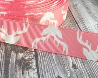 "7/8"" Deer ribbon - Deer antlers ribbon - Deer silhouette ribbon - Pink and white - Hunting life - Buck ribbon - Buck fever - Bone collector"