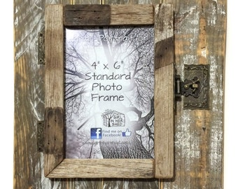 """Rustic 4""""x 6"""" Hinged Frame, Natural-White/Rustic"""