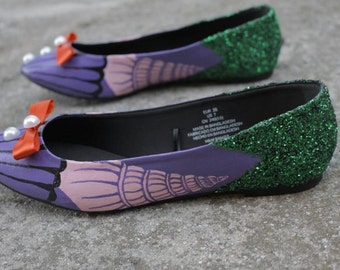 The Little Mermaid Ariel Hand Painted Flats Shoes