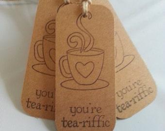 Tea tags, Tea favor tags, Tea gift tags, Kraft tags, Set of 12