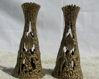 Vintage Brass Brutalist Candle Holder Menorah Wainberg Israel Jerusalem Judaica