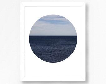 Sea Print Printable Wall Art Sea Art Print Ocean Decor Ocean Photography Circle Print Sea Decor Instant Download Art Beach House Decor