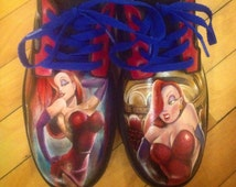 Jessica Rabbit Hand Painted Leather Shoes