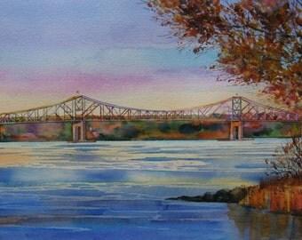 Hudson River Art, Hudson River Watercolor Print, Tappan Zee Bridge, Hudson River Valley, 8 x 14 inch Print, Autumn on the Hudson, Oranges