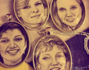 Custom portrait drawing necklace pendant