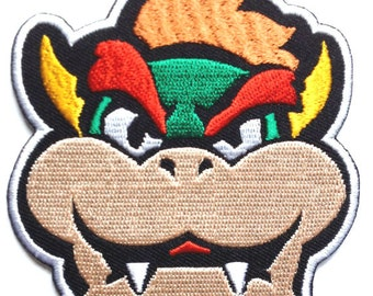 Bowser Face Patch Embroidered Iron on Badge Applique Costume Mario Kart / Snes / Mario World / Super Mario Brothers / Mario Allstars