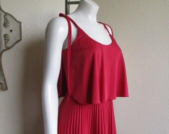 vintage 70s red raspberry disco dress- Jody T of California s/m