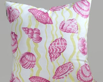 Seashell Pillow, Coastal Pillow, Yellow Magenta Pink Throw Pillow Cushion Cover Designer P. Kaufmann Decorative Beach House Chair Sofa Decor