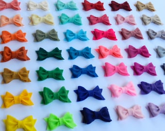Mini Felt Bows in 42 Color Options