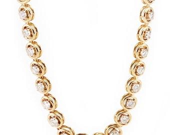 18k Diamond Necklace 12.50 ctw Round Gold