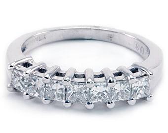 18k Diamond Band Ring Wedding Anniversary Princess 7 Stones 0.90ct White Gold