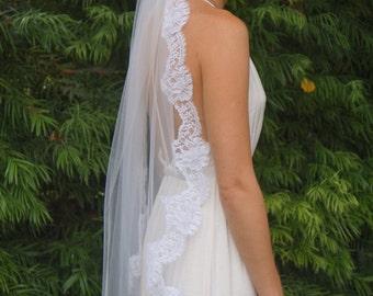 Monica, Teardrop Veil, Fingertip Veil, Lace Veil, Chantilly Lace Veil, Made-to-Order Veil, Custom-Made Veil
