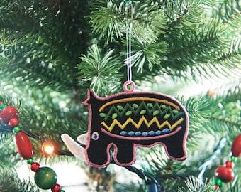 African Ornament, Rhino Christmas Ornament, African Christmas Ornament, African Inspired Ornament, African Rhinoceros Ornament, FSL Ornament
