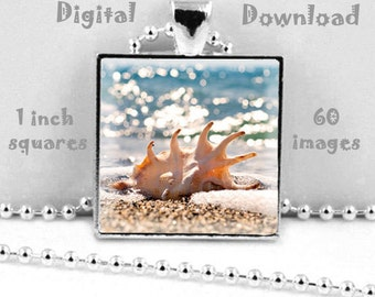 Beachy - Digital Download, 1 inch squares on 8.5 x 11 paper, printable images for pendants, magnets and bezel trays