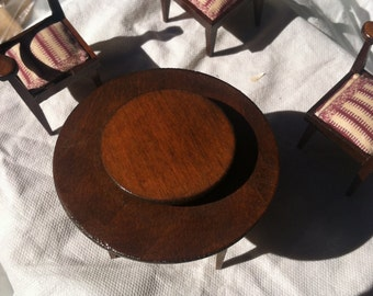 Lazy Susan Table with 3 Covered Chairs