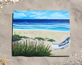 """Custom Beach Acrylic Painting on Canvas 16"""" x 20"""" Summer Ocean Boat Shore"""