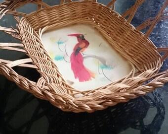 Decorative Wicker Tray Souvenir Tray/Made in Mexico/Feather Art