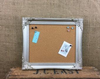 silver framed cork board framed pin board ornate cork board notice board - Framed Cork Board