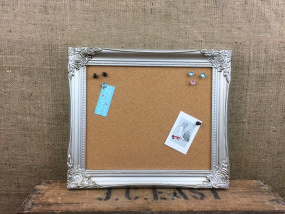 SILVER FraMed CORK BOARD - Framed Pin Board - Ornate Cork Board - Notice Board - Vision Board - Framed Message Board - Metallic Pinboard