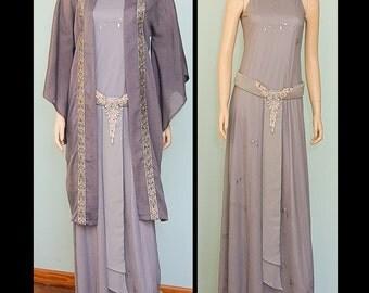 OOAK fantasy elven gown and silk kimono, antique silk kimono, fantasy evening gown