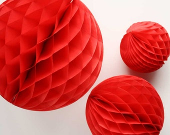 Red tissue honeycomb balls - 12, 8, and 5 inch. Red tissue paper honeycombs. Red party decor. Red party decoration. Red tissue decor