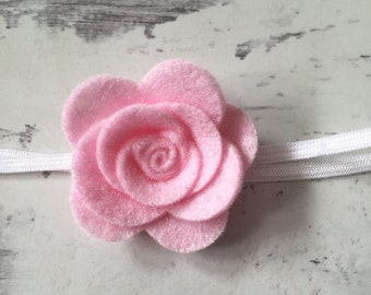 Pink Rose Headband - Rose Headband - Girls Headband - Newborn Headband - Toddler Headband