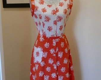 Sweet Sixties Cotton Sun Dress. Orange and White Ditsy Floral Print.