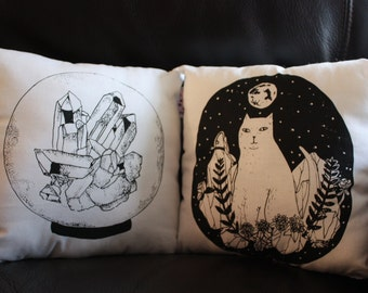Crystal Pillow - Hand Screen Printed White Cotton Illustrative Pillows