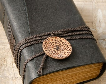 Black Leather Journal, Handbound Journal, Leather Diary, Notebook