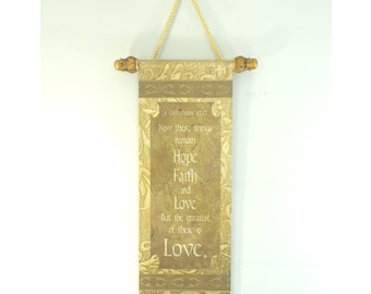 90s Corinthians 13:13, Love Wall Hanging, Greatest of these is Love, Biblical Print, Scroll Wall Hanging, Bible Verse Decor, Religious