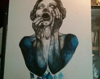 "Blue girl 19""x25"" print"