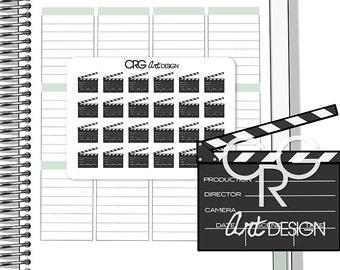 Movie Clapper Stickers | Planner Erin Condren Plum Planner Filofax Sticker