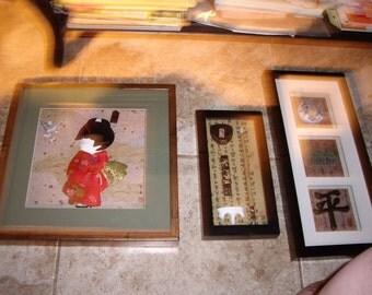 3 Vintage Framed Asian Pictures