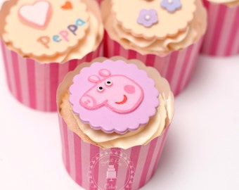 Fondant Peppa Pig Theme Cupcake Toppers - set of 12