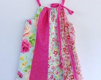 Girl's summer dress - multi panelled / Vintage roses dress / pillowcase dress / party dress / 18-24 months