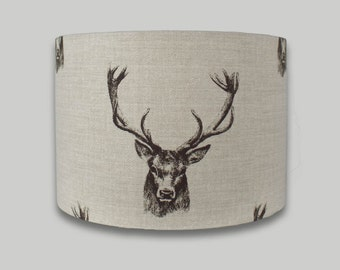 Stags Charcoal Stag Deer Head Drum Lampshade lightshade 20cm 25cm 30cm 35cm and 40cm diameter available with a range of depths in each size