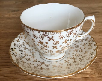 Colcough White and Gold Stars and Snowflakes Teacup and Saucer