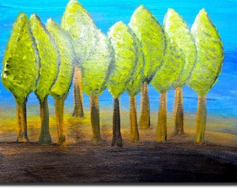 lollipop tree painting Abstract trees painting original abstract wall art canvas landscape home decor acrylic,green,brown,aqua,blue,forest