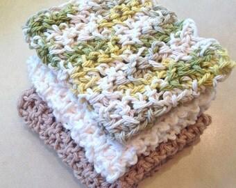 Crochet Cotton Dishcloth Washcloth - set of 3, neutral