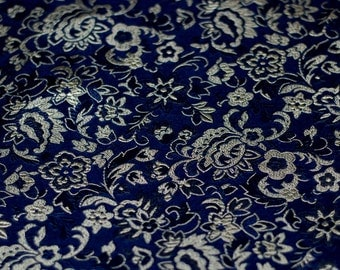 Navy Jacquard Damask Fabric Floral Flower Pattern - 20 inches long X 29,5 inches wide
