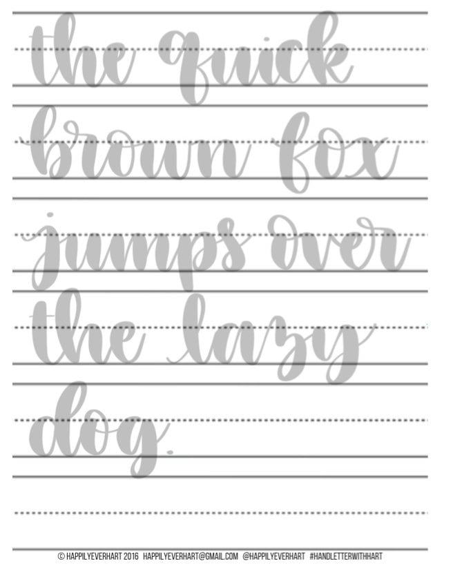 20+ Free Brush Lettering Practice Sheets | Dawn Nicole
