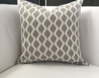 Grey Pillow Cover- Ikat Pillow- 18x18 - 18 x 18 inches - Modern Neutral Gray Pillow Cover - Grey and White Decorative Pillow