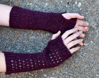 Purple Lace Fingerless Gloves, Outlander Finger-Less Gloves, Armwarmer, made in USA - Ready to SHlP